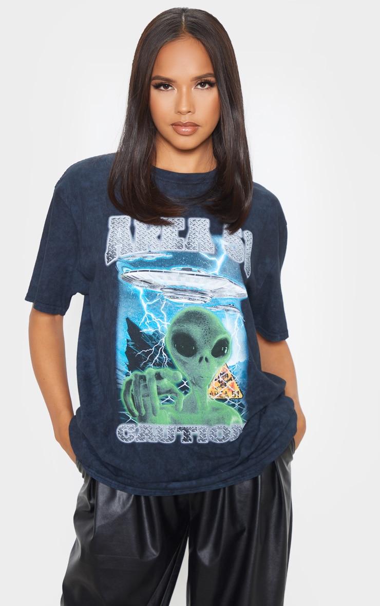 Black AREA 51 Oversized T Shirt 4