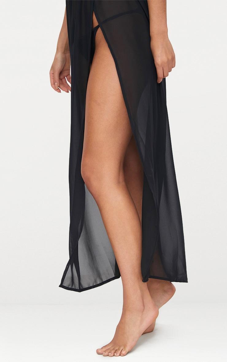 Black Chiffon Side Split Wrap Tie Maxi Dress 5
