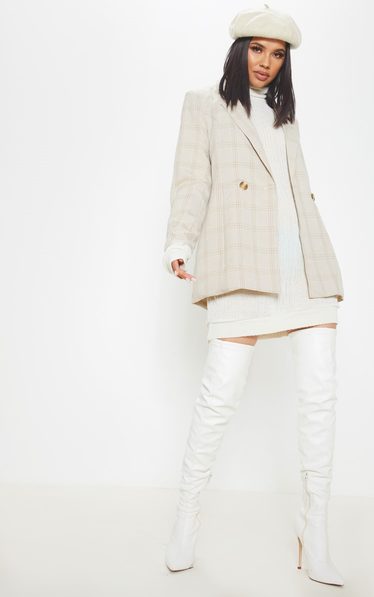 Cream Oversized Ribbed Jumper  4