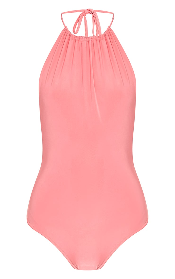 Angelika Pink High Neck Halterneck Bodysuit 3