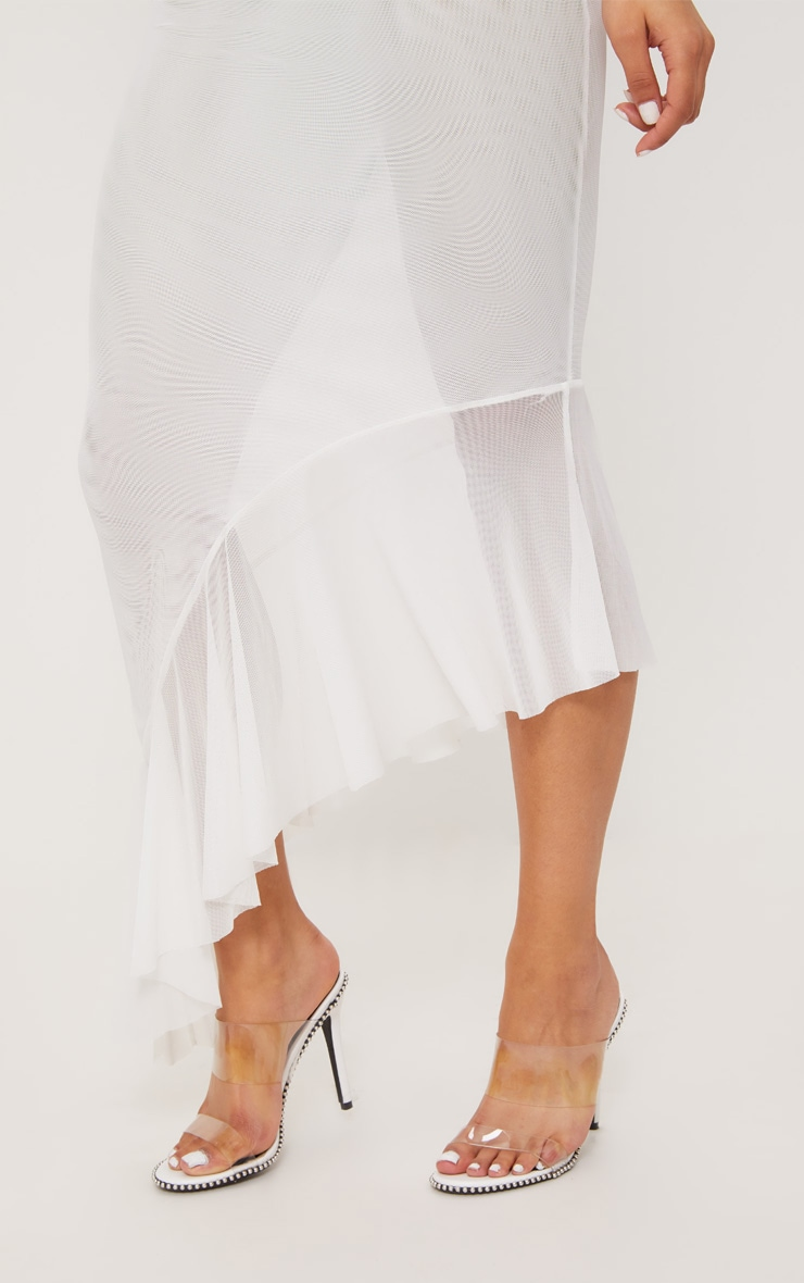 White Mesh Frill Detail Maxi Skirt 5