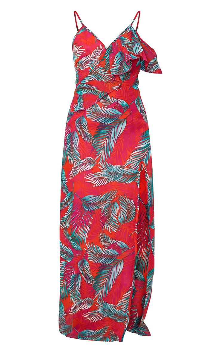 Hot Pink Asymmetric Frill Sleeve Maxi Dress 3