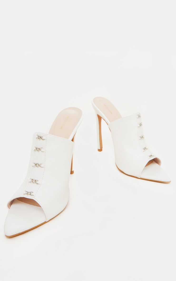 White Chain Front Point Toe Mules 4