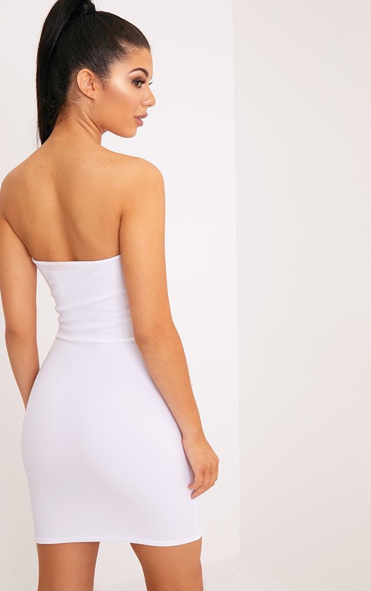 Layala White Split Detail Bandeau Bodycon Dress 2