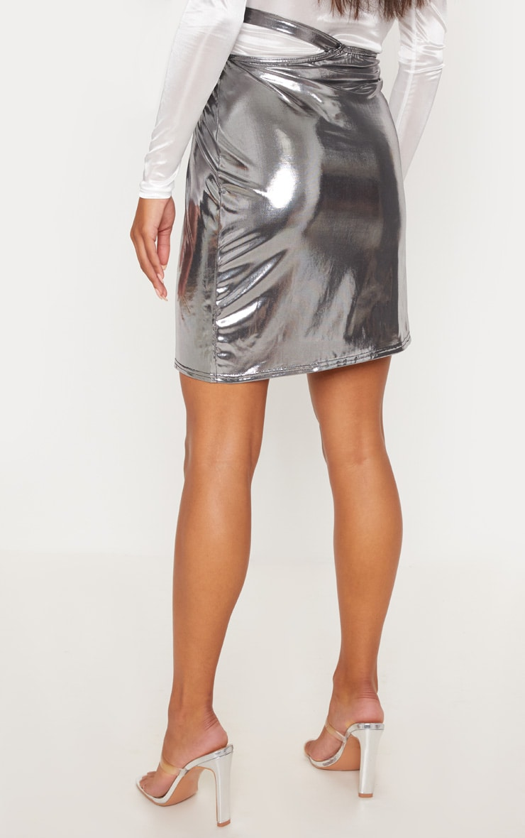 Silver Metallic Cut Out Detail Wrap Skirt 4