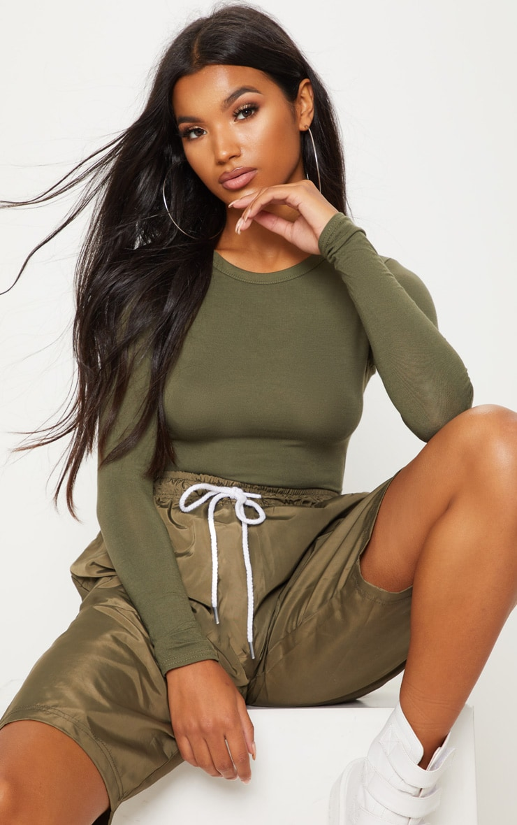 Basic Khaki Long Sleeve Fitted T Shirt 2