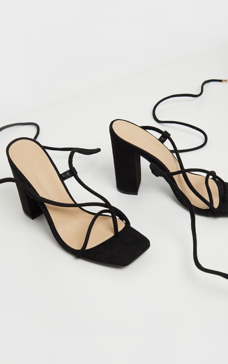 Black Ghillie Lace Up Block Heel Sandal 3