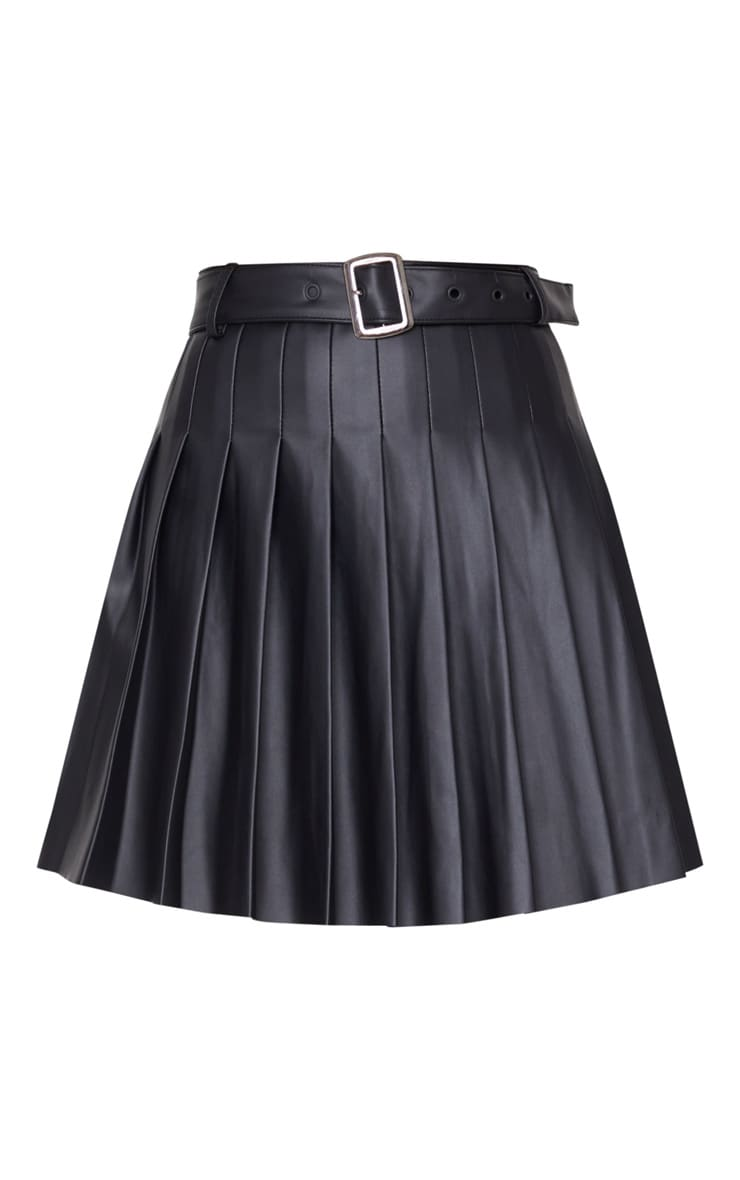 Black Faux Leather Belted Skater Skirt 6
