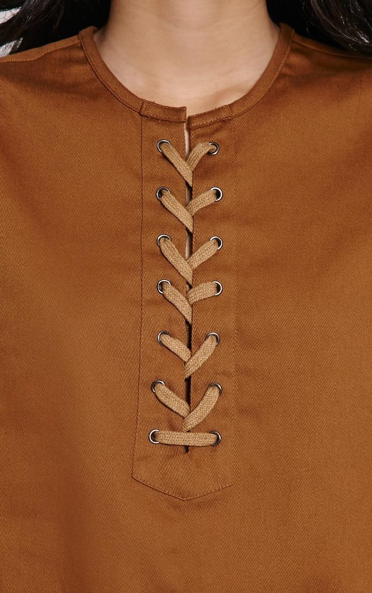 Merci Brown Lace Up Detail Shift Dress 5