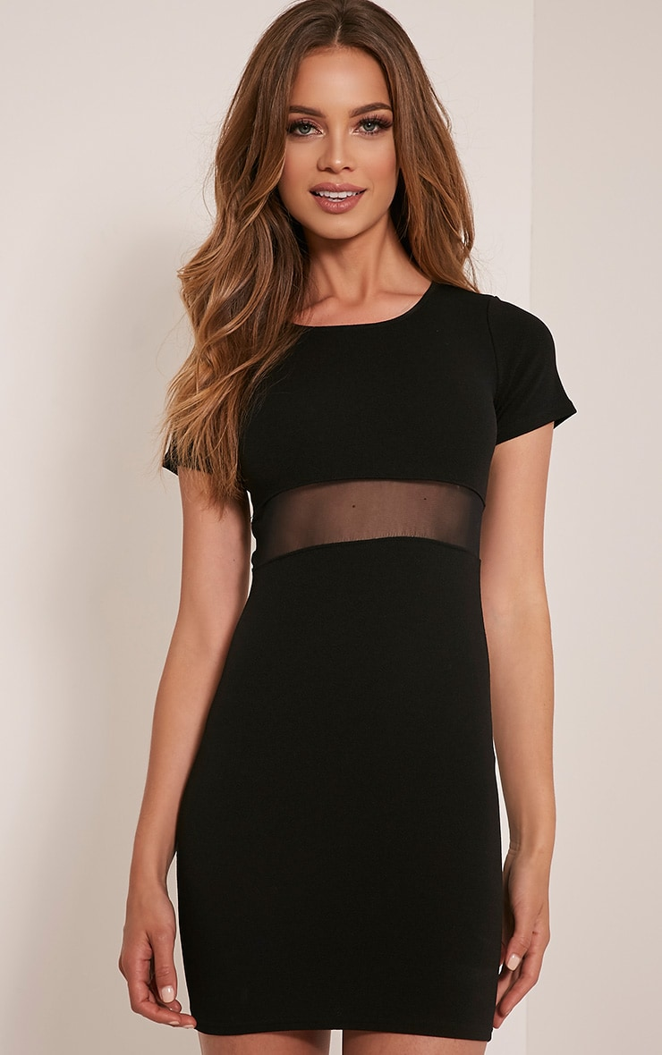 Kaylee Black Short Sleeve Mesh Panel Bodycon Dress 1