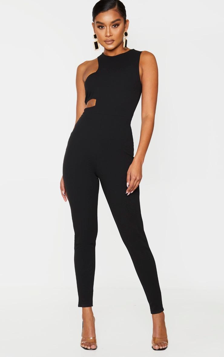 Black Asymmetric One Shoulder Jumpsuit 1