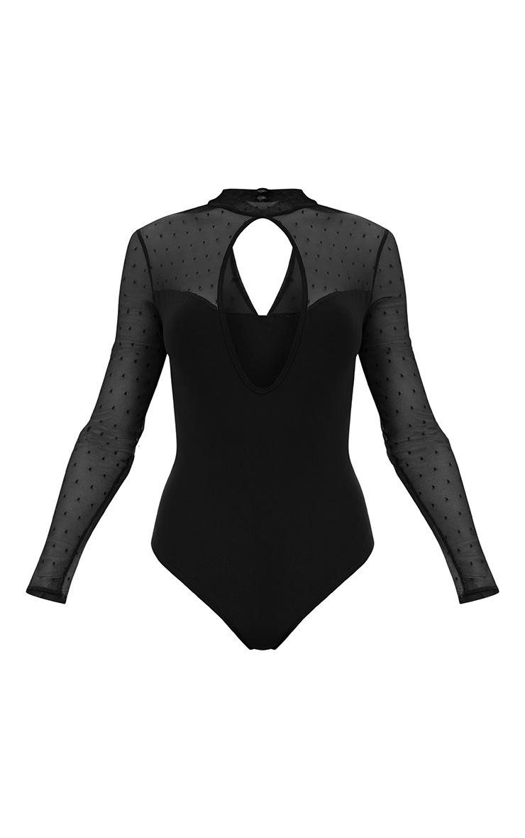 Black Key Hole Mesh Sleeve Thong Bodysuit  3