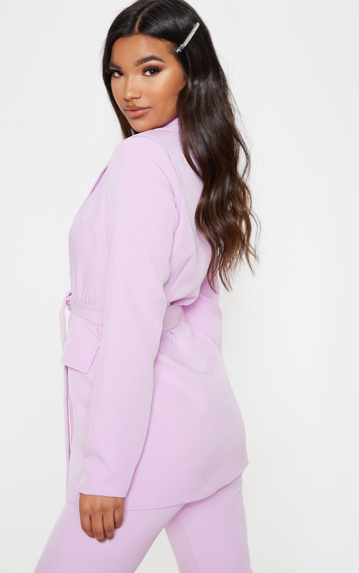 Lilac Belted Long Line Woven Blazer 2