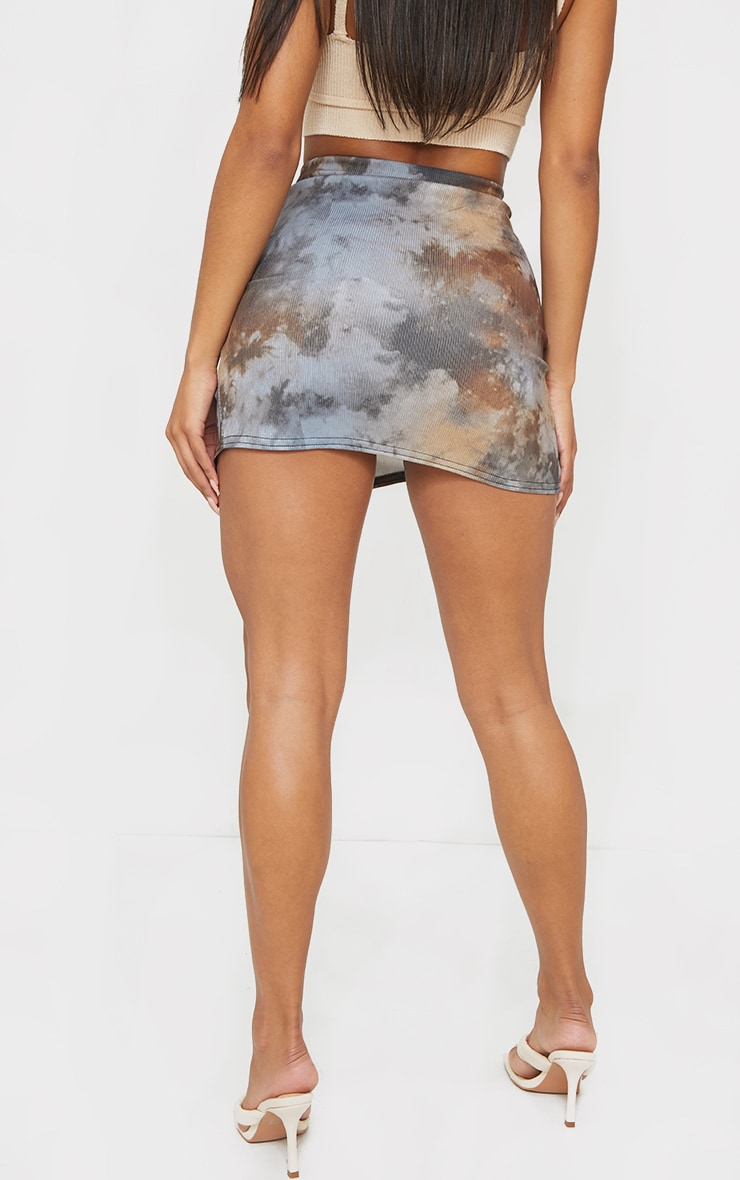 Tie Dye Rib Ruched Mini Skirt 6