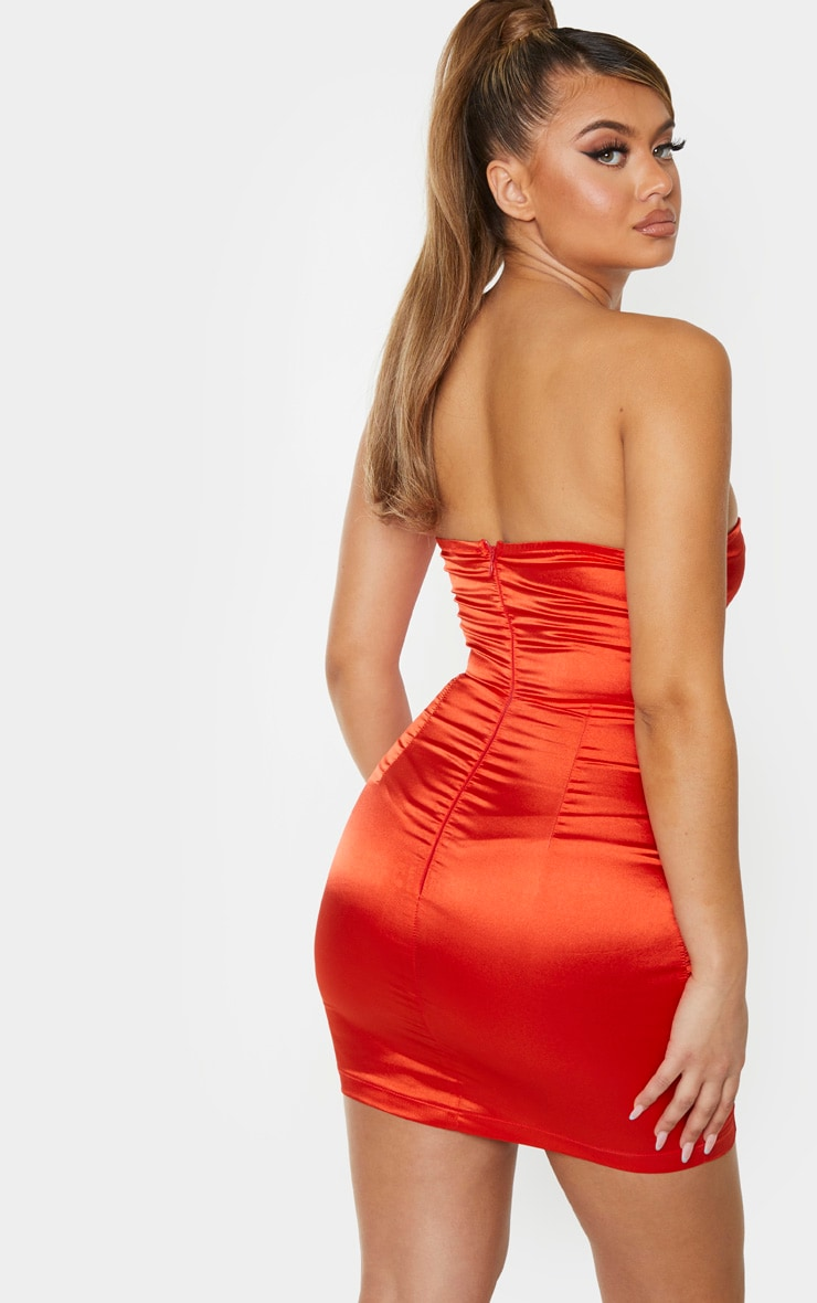 Orange Satin Underwired Hook & Eye Bandeau Bodycon Dress 2