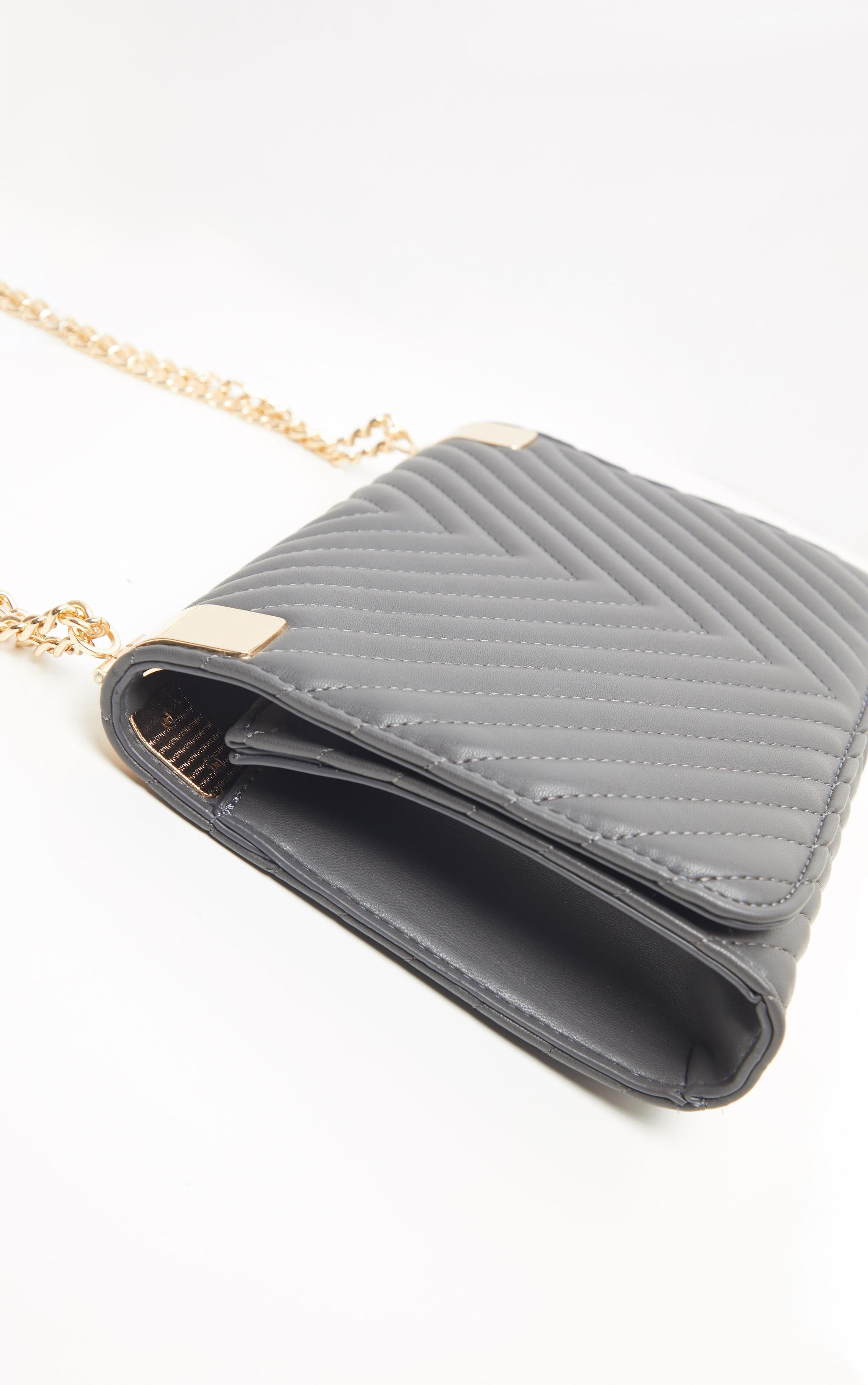 Grey Quilted PU Large Cross Body 3