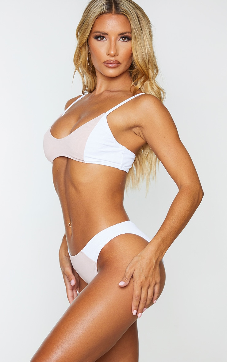 White Ribbed Two Tone High Leg Bikini Bottom 2