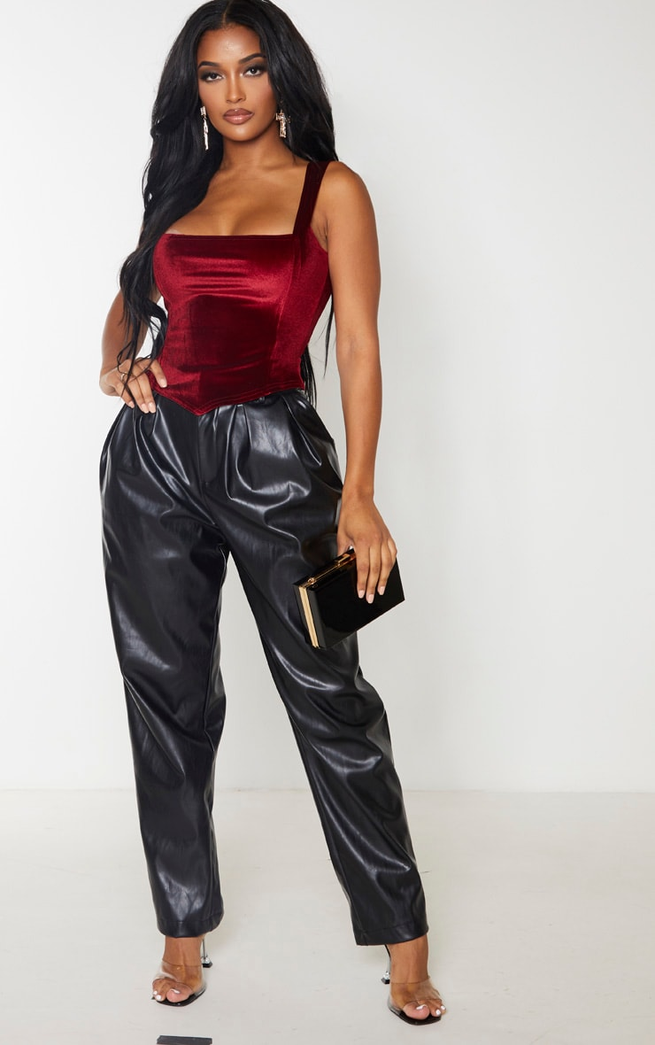 Shape Burgundy Velvet Corset Crop Top 4