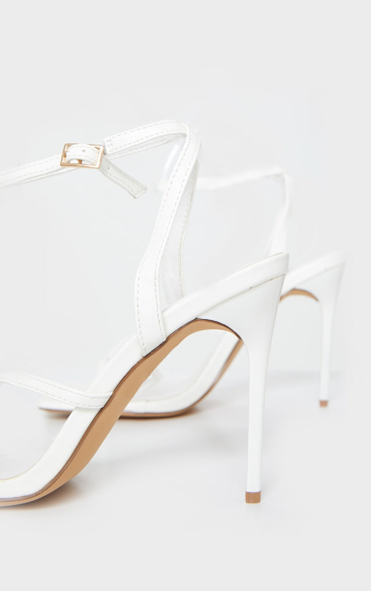White PU Square Toe Strappy High Heeled Sandals 4
