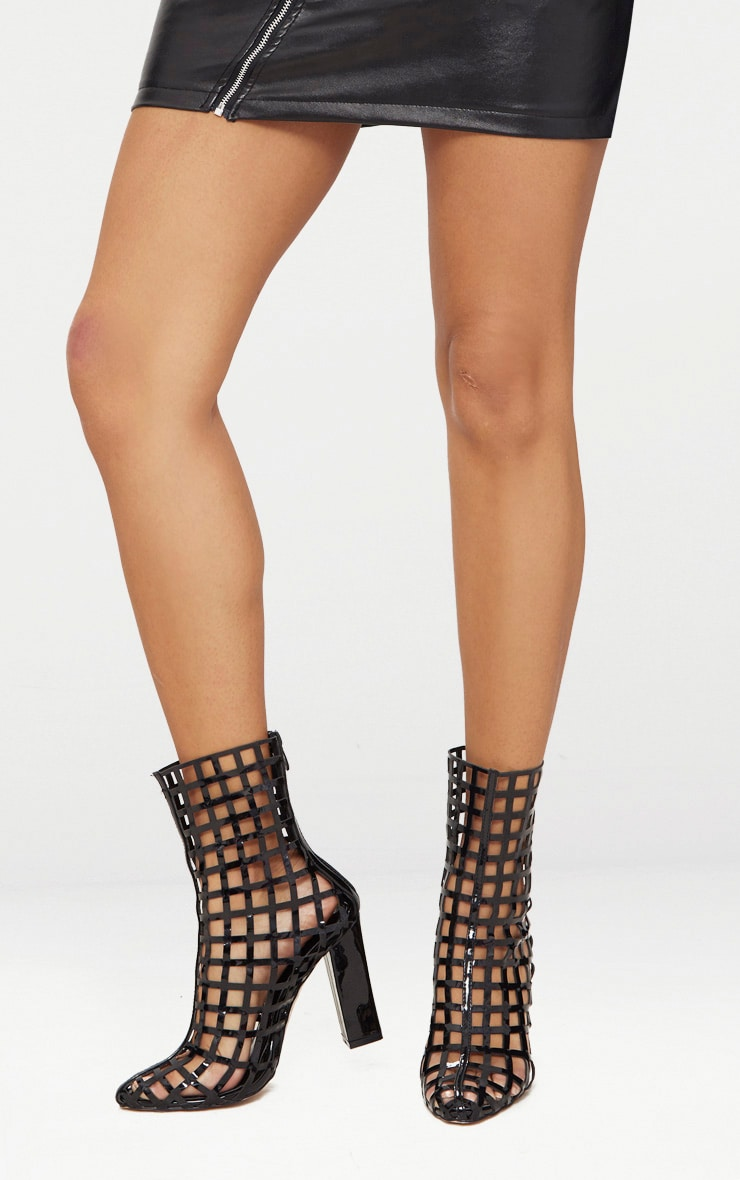Black Caged Ankle Heeled Boot