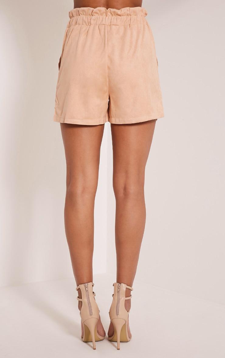 Trudy Peach Faux Suede Shorts 5