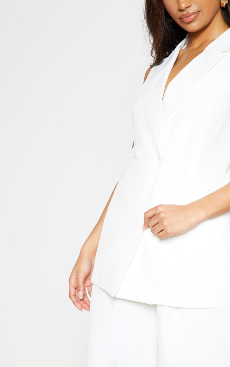 White Sleeveless Bodycon Blazer 6