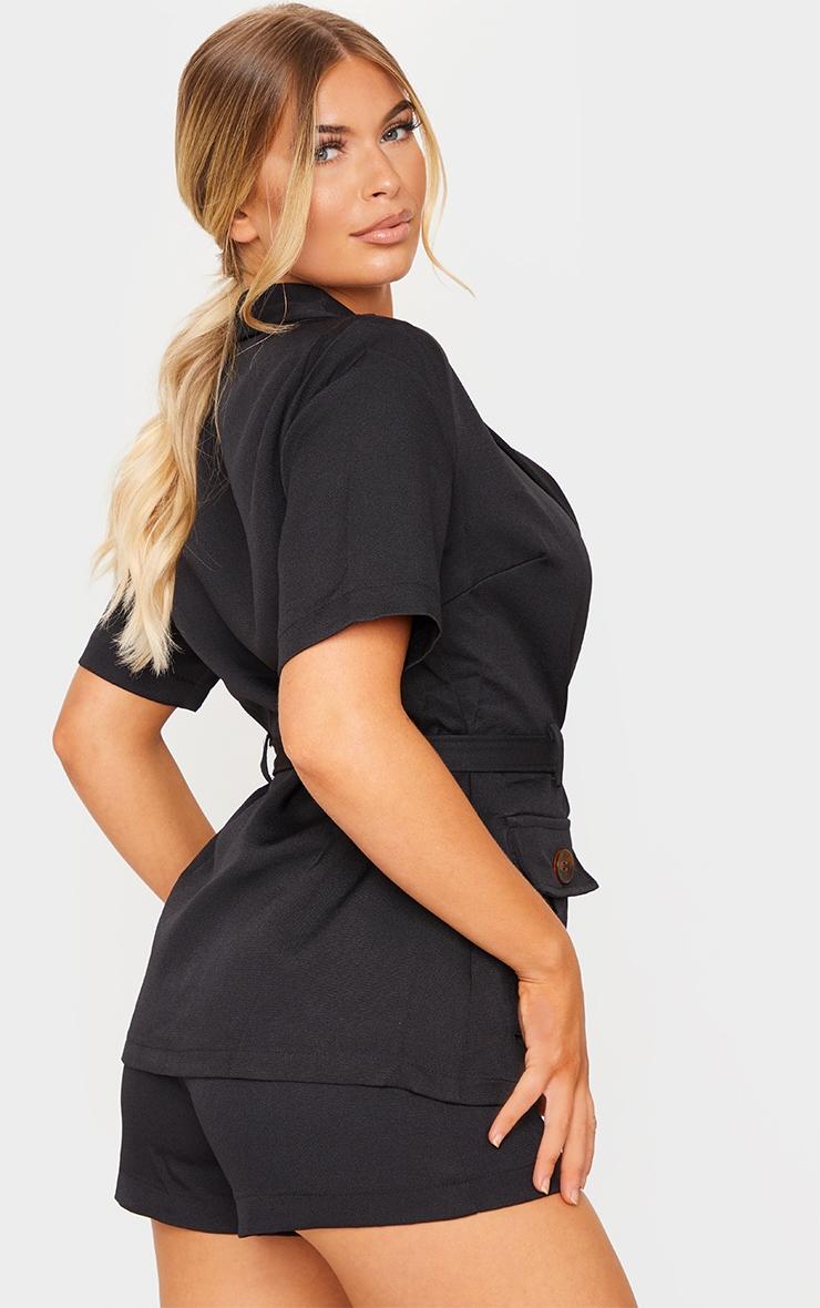 Black Short Sleeve Belt Pocket Detail Blazer 2