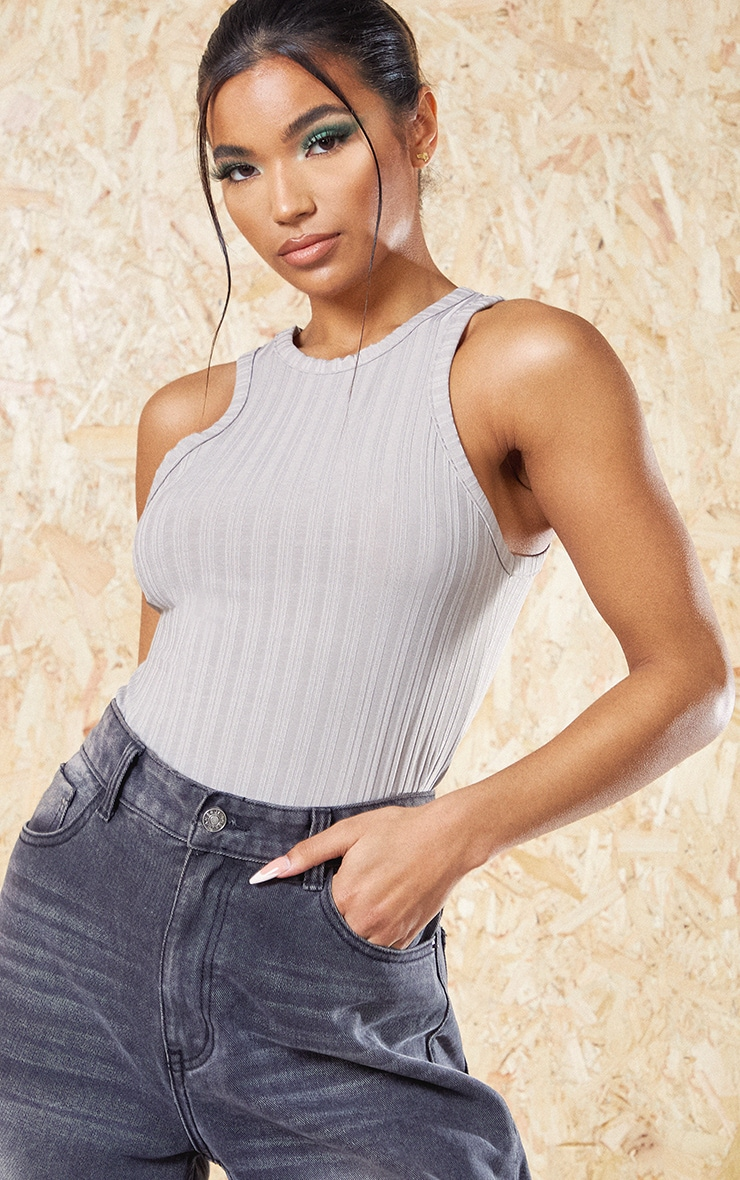 Grey Recycled Rib Racer Neck Top 4