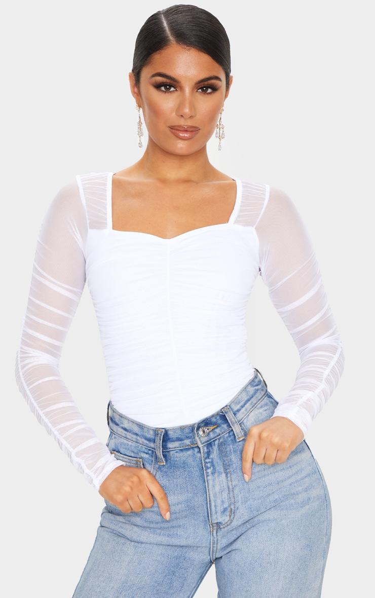 White Mesh Ruched Square Neck Bodysuit 1