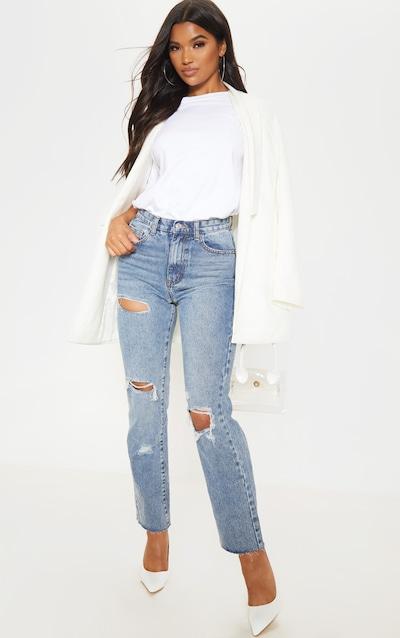 Mid Wash Straight Leg Jeans