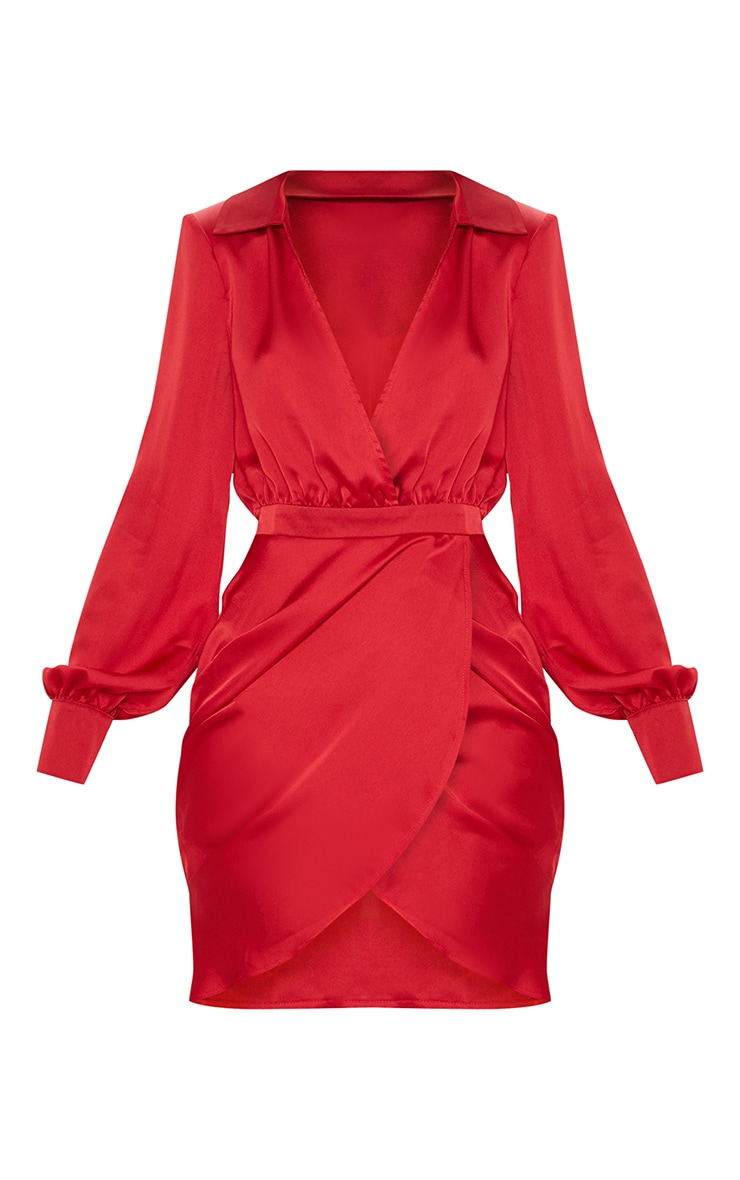 Red Satin Plunge Shoulder Pad Wrap Dress 3