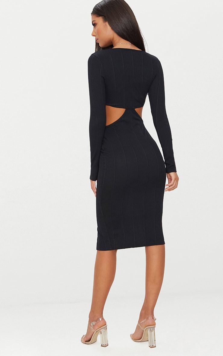 Black Bandage Zip Detail Cut Out Long Sleeve Midi Dress 2