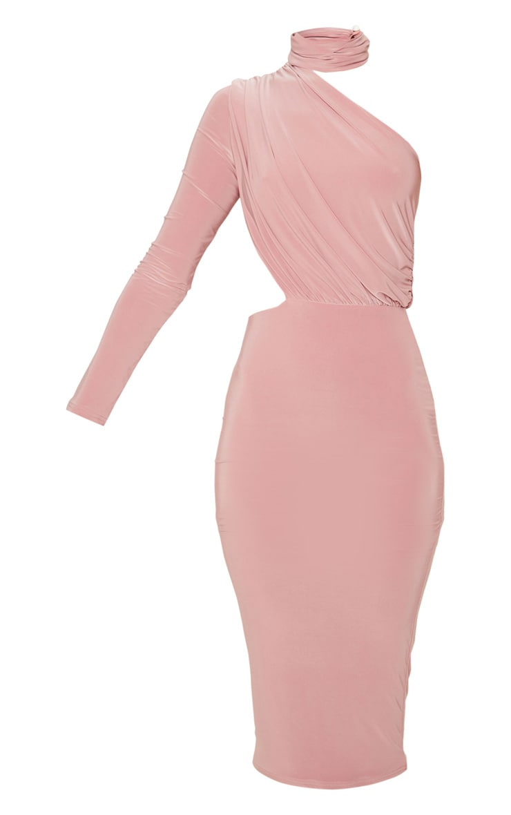 Baby Pink Ruched One Shoulder Midi Dress 3