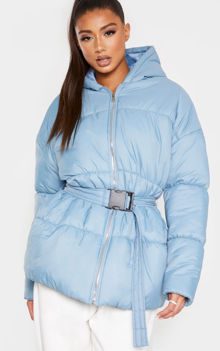Baby Blue Hooded Midi Belted Puffer Jacket 1