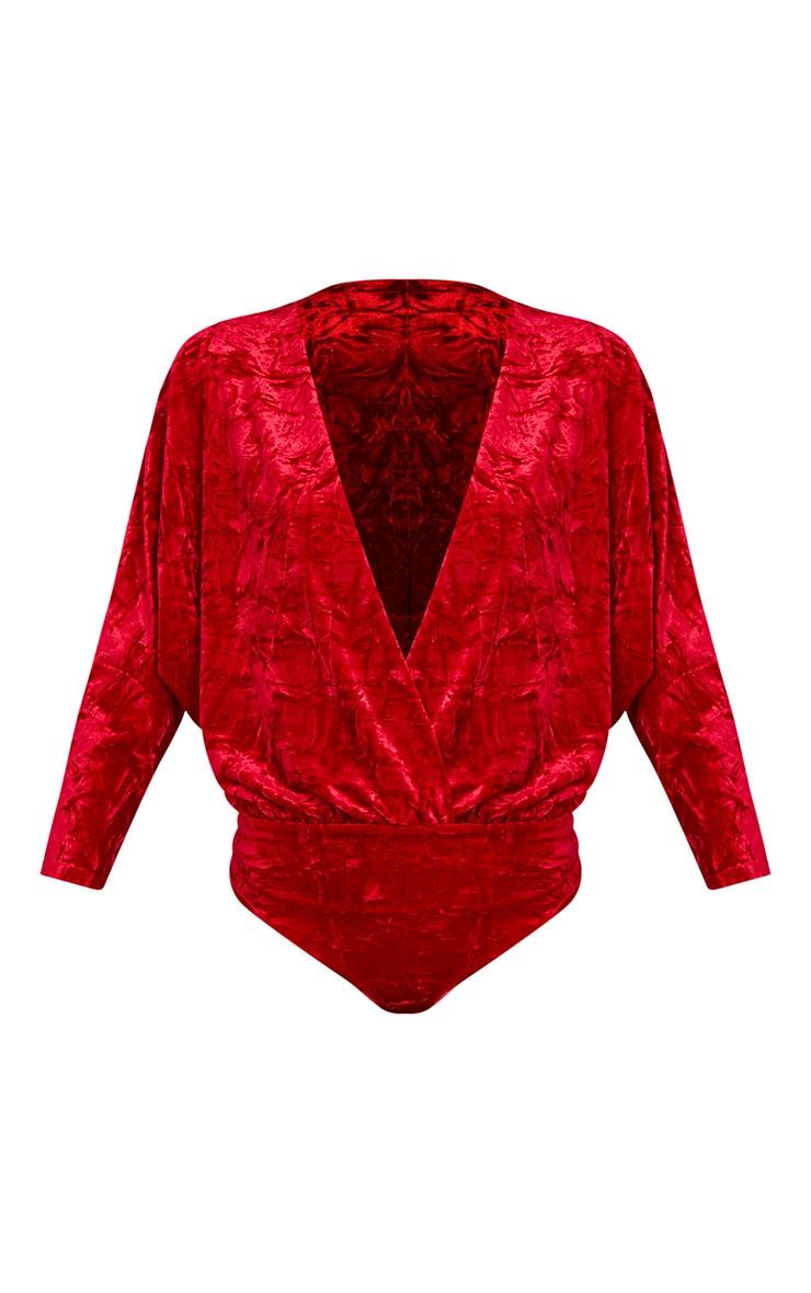 Adelle Red Crushed Velvet Plunge Long Sleeve Thong Bodysuit 3