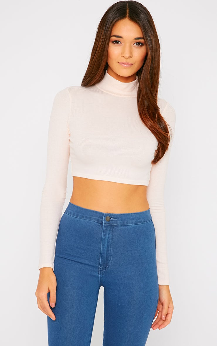 Basic Nude Ribbed High Neck Crop Top 4