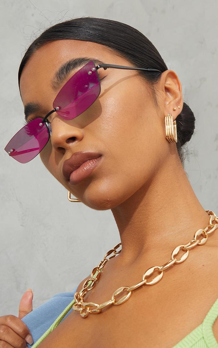 Pink Lens Revo Effect Small Square Rimless Sunglasses 1