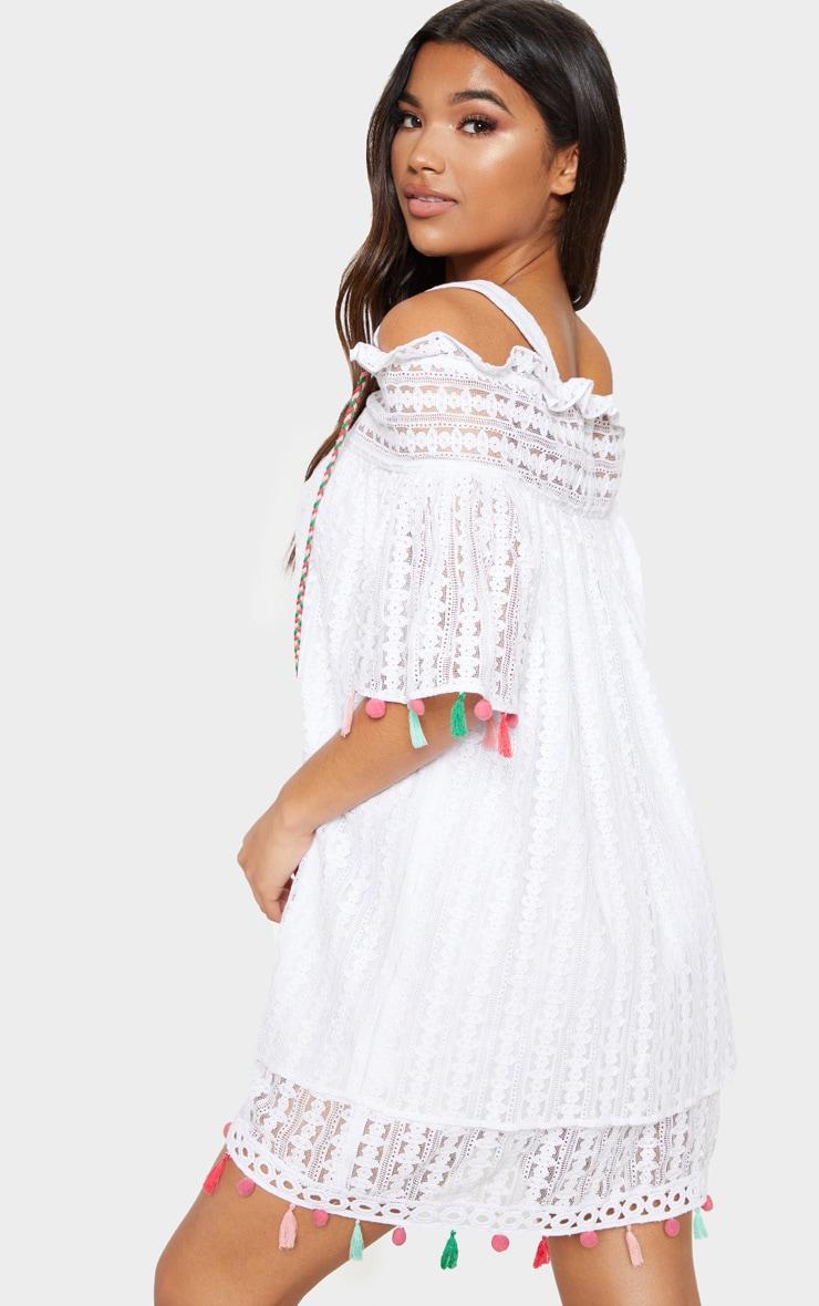 White Strappy Crochet Trim Pom Pom Smock Dress 2