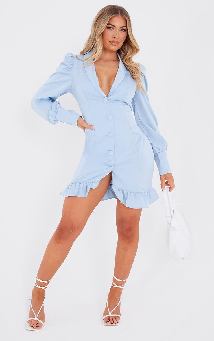 Baby Blue Button Cuff Frill Hem Blazer Dress 3