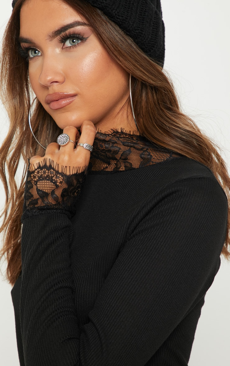 Black Lace Trim Long Sleeve Top 5
