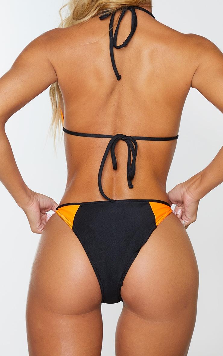 Black Contrast Tanga Bikini Bottom 3