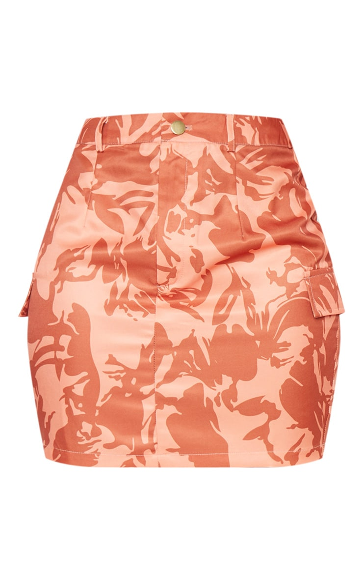 Burnt Orange Cargo Camo Mini Skirt 3