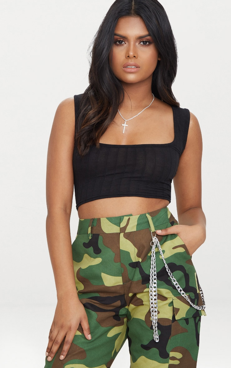Petite Black Ribbed Square Neck Crop Top 1