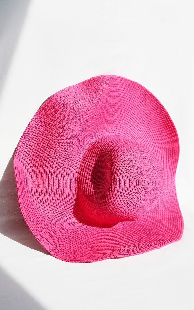 Pink Wide Brim Floppy Hat 1