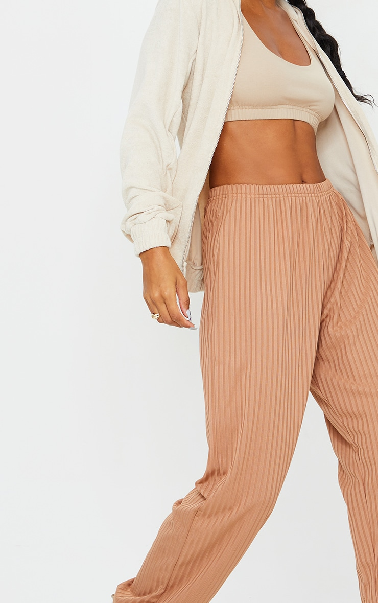 Camel Ribbed Casual Joggers 4