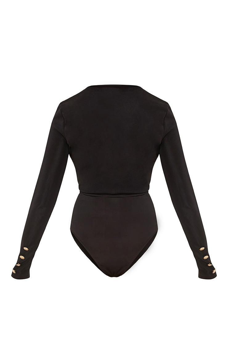 Lilie Black Military Style Button Longsleeve Bodysuit 4