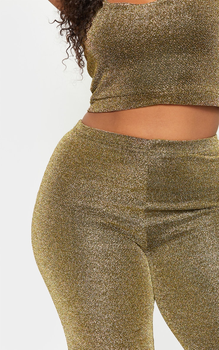 Plus Gold Glitter High Waisted Flare Leg Pants 6