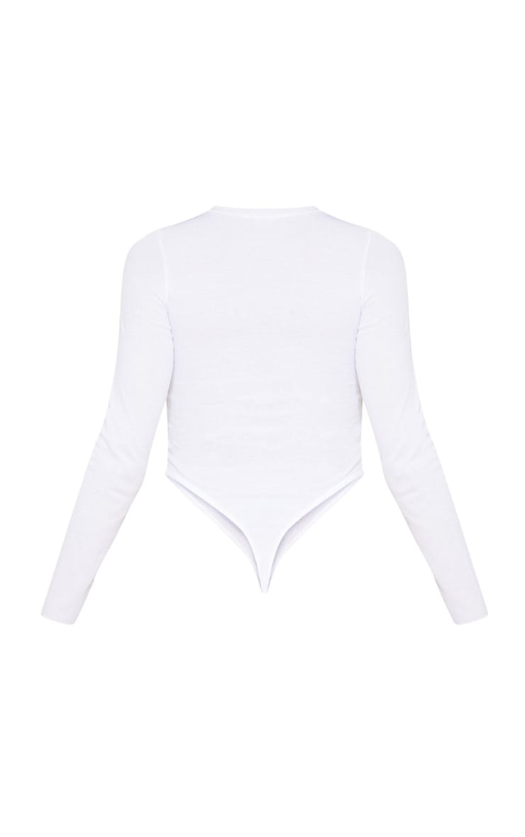 PRETTYLITTLETHING White Rib Embroidered High Rise Long Sleeve Bodysuit  4