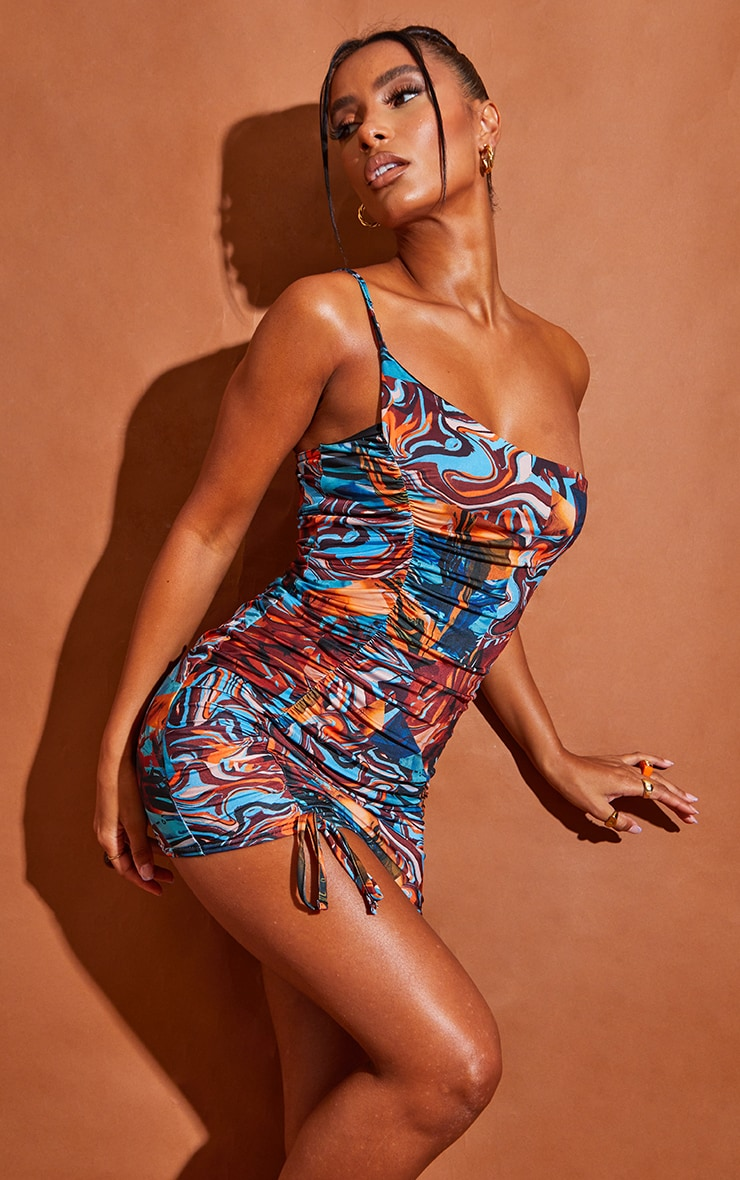 Blue Abstract Print Slinky One Shoulder Ruched Spaghetti Strap Bodycon Dress 3