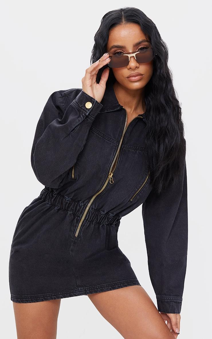 Robe en jean noir délavé à manches longues et zip 1